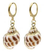 A-G7.2 F20.5 E2121-058G S. Steel Earrings Shell 1x3cm Gold