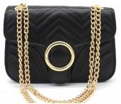 Y-E3.2 BAG122-005 Trendy PU Shoulder Bag Black 20x15x7cm