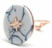 G-E4.1 R532-008R Adjustable Ring Marble with Northern Star Rose Gold