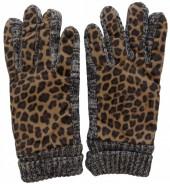 Warm Gloves with Leopard Print Grey-Brown