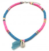 C-D16.1  N412-001E Choker Surf Necklace Tassel-Shell Pink-Blue