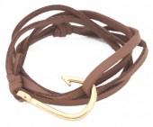 B019-058 PU Wrap Bracelet with Hook Brown-Gold