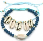 A-A17.5 B538-001 Bracelet Set 2pcs Shells Blue
