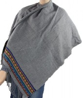 T-N8.1 Soft Poncho with Aztek Print Grey