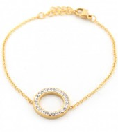 E-A5.3 E410-003 S. Steel Bracelet Crystal Circle 15mm Gold
