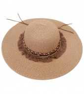 HAT210-007 Ibiza Style Hat with Tassels and Chains Brown