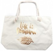 Y-E3.2 BAG530-005C Large Beach Bag Life is Beautiful White