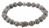 A-A4.4  S. Steel Bracelet with Semi Precious Stones Grey