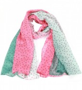 S208-004 Scarf with Hearts 70x180cm Pink-Green