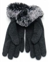 T-I2.2 GLOVE501-003D Soft Gloves with Fake Fur Grey
