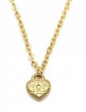 E-B24.1 N2121-013G S. Steel Necklace with 8mm Heart Gold