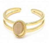D-E5.1 R2142-018G S. Steel Ring Adjustable Pink Stripped Agate
