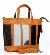 BAG-965 Leather Bag 31x22x10cm Brown with Mixed Color Cow Hide