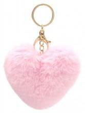 S-B2.4 KY414-003E Fluffy Bag-Keychain 10cm Heart Pink