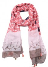 X-D8.1 SCARF509-001C Scarf with Tassels Anchors and Hearts 180x80cm Pink