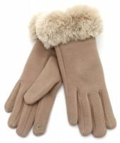 T-N6.3 GLOVE501-003A Soft Gloves with Fake Fur Brown