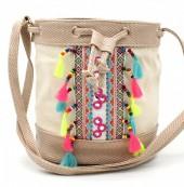 Y-C2.5  BAG216-002 Ibiza Style Bag with Tassels Khaki