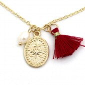 F-E2.3  N532-003G Necklace Northern Star and Tassel Gold