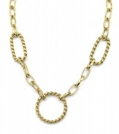 E-B15.3  N2033-023G S. Steel Necklace Circles Gold