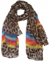 X-G2.1 SCARF507-006C Scarf with Animal Print and Lines 180x90cm Brown-Rainbow
