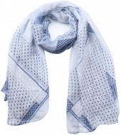 X-J8.1 SCARF507-10C Scarf Dots and Anchors 180x90cm Blue