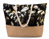 Y-B2.1 BAG217-004 Beach Bag with Wicker and Metallic Flamingos and Pineapples  54x40cm Black-Gold