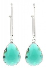 C-C2.2  E1631-021 Earrings with Stone 6x2cm Silver-Green