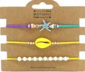G-B17.2 B2001-054B Bracelet Set 3pcs Starfish-Pearls-Shell Yellow