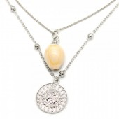 G-C18.1 N304-047 Necklace 2 Layers with Plated Shell and Sun Silver