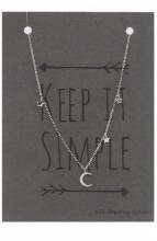 B-C5.3 SN104-007 Necklace 925 Sterling Silver Moon and Stars with Crystal