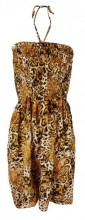 L-D3.1  Beach Dress with Beads Onze Size Fits All Leopard
