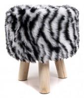 ST002-002 Stool with Fake Fur Zebra 31x34cm