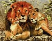 T-M6.1 Q102 Diamond Painting Set Lion with Cubs 30x20cm