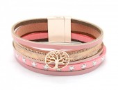 B218-001 Leather Bracelet with Stars and Tree of Life Pink