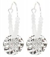 B-B6.5  EN2019-025S Earrings Glassbeads and Coin 2.5x4cm Silver