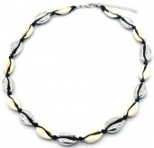 H-A4.1 N2001-006A Short Shell Necklace 40-45cm Silver-Black