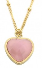 B-E16.1 N1934-009 Stainless Steel Necklace with 20mm Heart with Rose Quartz Gold