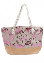 Q-L3.2 BAG217-004 Beach Bag with Wicker and Metallic Flamingos and Pineapples 54x40cm Brown-Pink