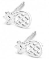 D-C18.1 SE104-098 Earrings 925 Sterling Silver Pineapples 7x5mm