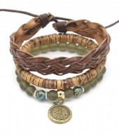 C-F9.2 B303-003 Bracelet Set 3pcs Leather-Beads-Wood