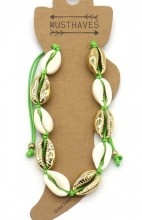 G-C6.2 ANK2001-007C Anklet with Shells Gold -Green