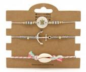 C-C2.2 B221-004 Bracelet Set 3pcs Anchor-Turtle-Shell Grey