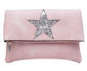 Q-H7.1 BAG012-009 PU Flip Over over with Glitter Star 28x21cm Pink