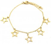 D-E19.5  B1939-008 Stainless Steel Bracelet with 12mm Stars Gold