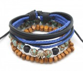 D-F2.1  B303-004 Bracelet Set 3pcs Leather-Beads-Wood-Rope