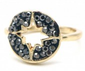 G-A19.3 R532-005G Adjustable Ring Northern Star with Crystals Gold