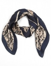 S-C8.2 S301-001E Scarf Silky Feel 70x70cm Brown-Blue Snake