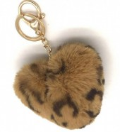 F-F15.1 KY414-001A Fluffy Keychain Heart Leopard Brown