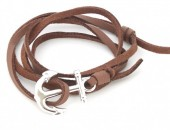 B019-057 PU Wrap Bracelet with Anchor Brown-Silver
