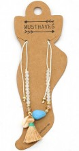 E-C8.3  ANK221-018 Anklet with Beads-Shell-Tassel White